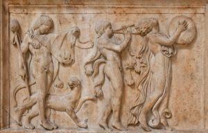 Bacchische Prozession mit Satyren und Mänade